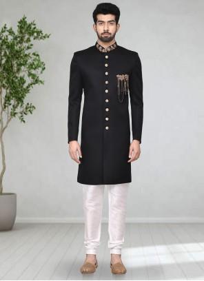 Rayon Buttons Black Indo Western Sherwani