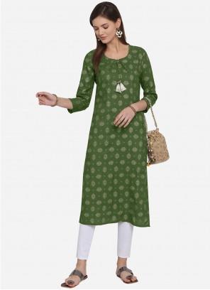 Rayon Green Casual Kurti