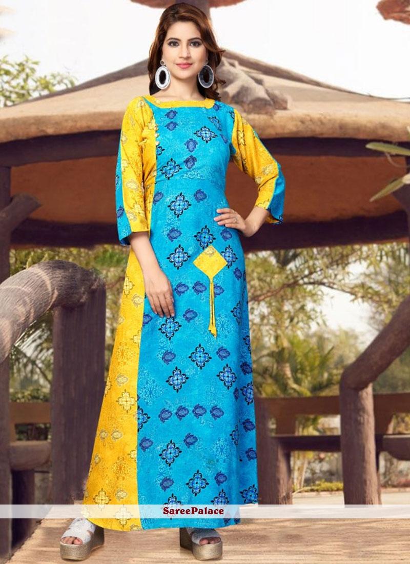 Blue and Yellow Rayon Casual Kurti