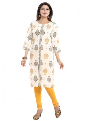 Rayon Cream Print Party Wear Kurti