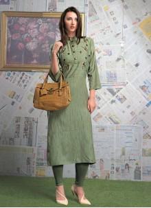 Rayon Designer Green Party Wear Kurti