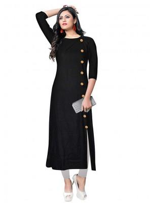 Rayon Designer Kurti in Black