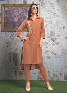 Rayon Designer Party Wear Kurti in Pink