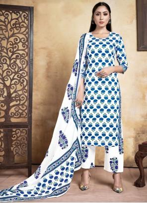 Blue Rayon Designer Straight Suit