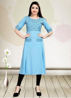 Rayon Embroidered Aqua Blue Casual Kurti