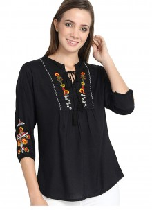 Rayon Embroidered Beige Casual Kurti