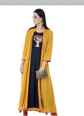 Rayon Embroidered Black and Mustard Designer Kurti