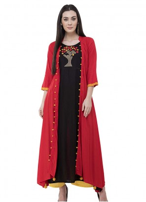 Rayon Embroidered Black and Red Designer Kurti