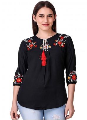 Rayon Embroidered Black Casual Kurti