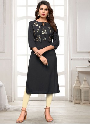 Rayon Embroidered Black Casual Kurti