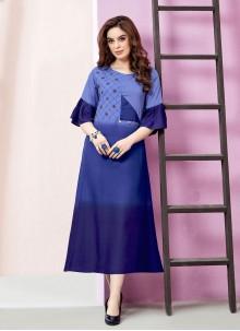 Rayon Embroidered Blue Designer Kurti