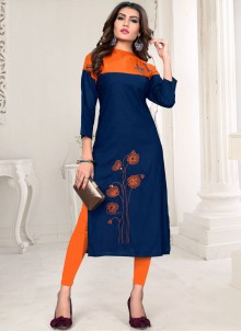Rayon Embroidered Blue Party Wear Kurti