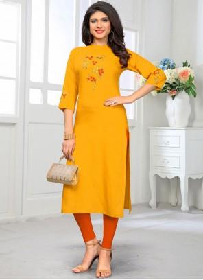 Rayon Embroidered Casual Kurti in Yellow