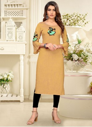 Rayon Embroidered Cream Party Wear Kurti