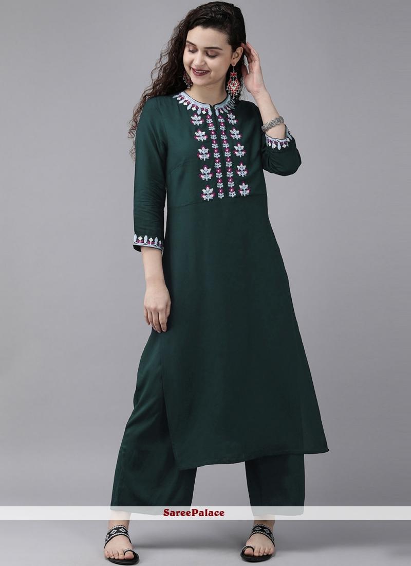 Rayon Embroidered Designer Kurti in Green
