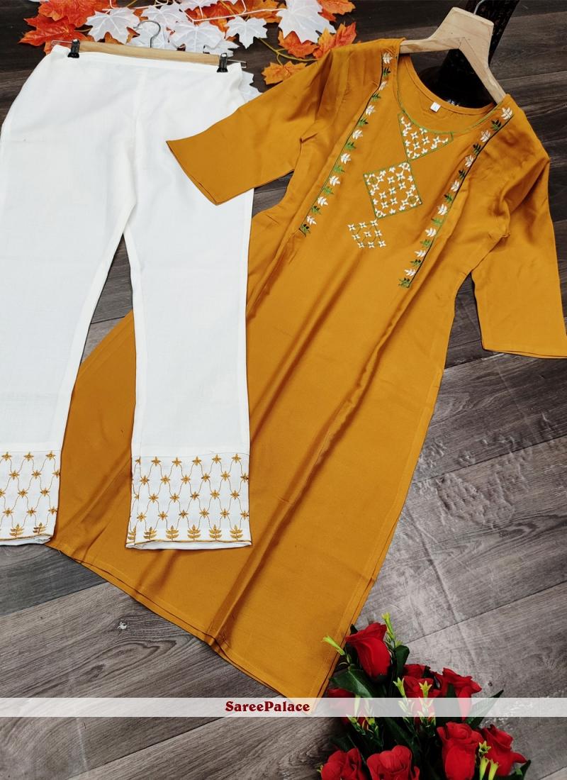 Rayon Embroidered Designer Kurti in Yellow