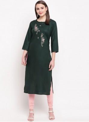 Rayon Embroidered Green Casual Kurti