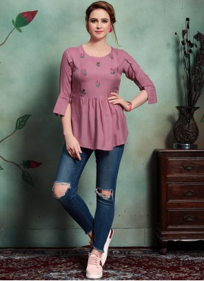 Rayon Embroidered Lavender Party Wear Kurti