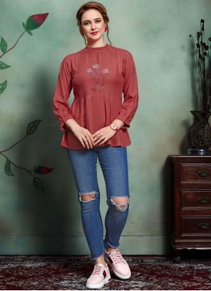 Rayon Embroidered Maroon Party Wear Kurti