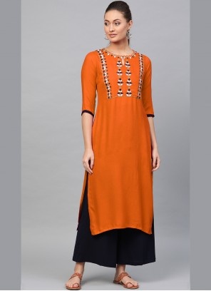 Rayon Embroidered Orange Designer Kurti
