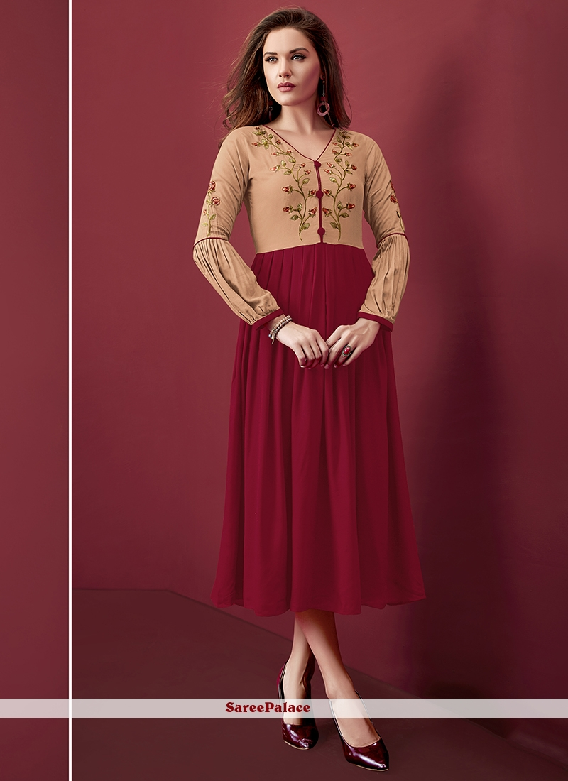 Maroon Rayon Embroidered Party Wear Kurti