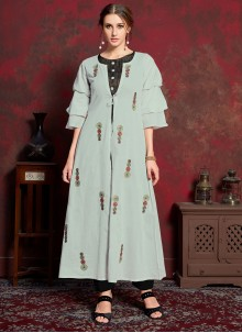 Rayon Embroidered Party Wear Kurti in Black and Grey
