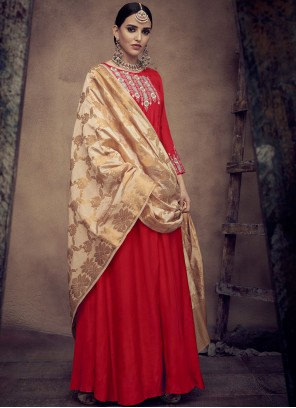 Rayon Embroidered Readymade Anarkali Suit