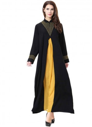 Black Rayon Embroidered Salwar Suit
