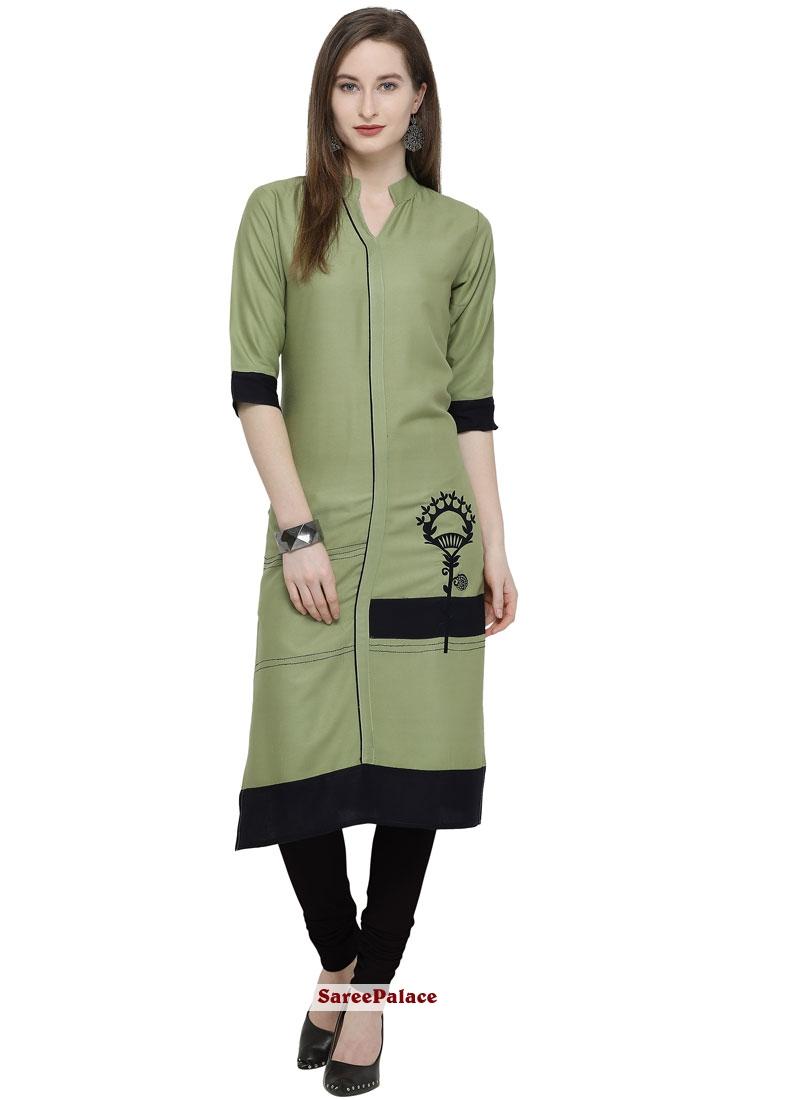 Rayon Embroidered Sea Green Party Wear Kurti