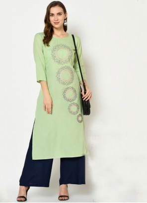 Rayon Embroidered Trendy Salwar Suit in Green