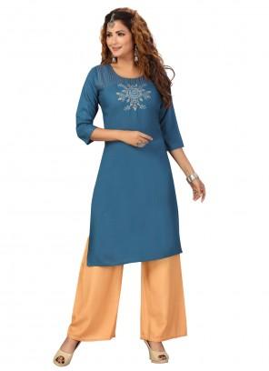Rayon Fancy Blue Party Wear Kurti