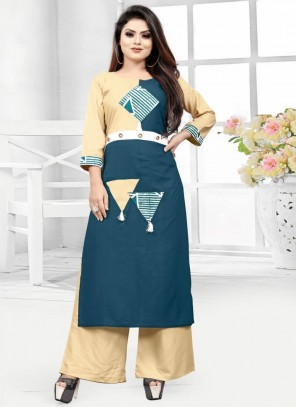 Rayon Fancy Cream and Teal Party Wear Kurti