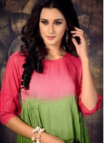 Rayon Fancy Green and Pink Party Wear Kurti