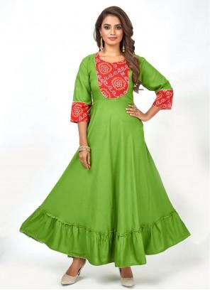 Rayon Fancy Green Party Wear Kurti