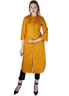 Rayon Fancy Party Wear Kurti in Mustard