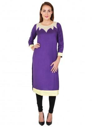 Rayon Fancy Purple Party Wear Kurti