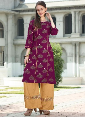 Purple Rayon Festival Party Wear Kurti