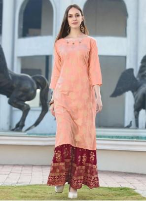 Pink Rayon Festival Party Wear Kurti