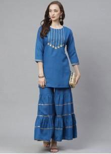Blue Rayon Festival Party Wear Kurti