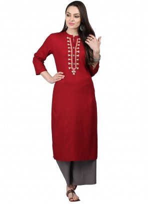Rayon Festival Party Wear Red Kurti