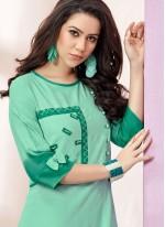 Rayon Green Embroidered Designer Kurti