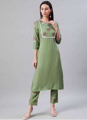 Rayon Green Fancy Party Wear Kurti