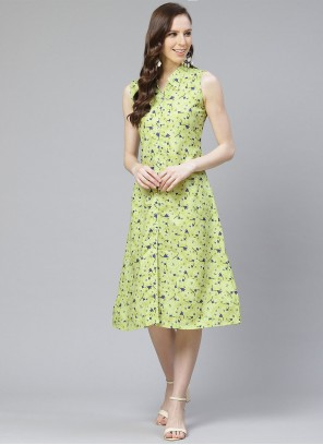 Rayon Green Printed Party Wear Kurti