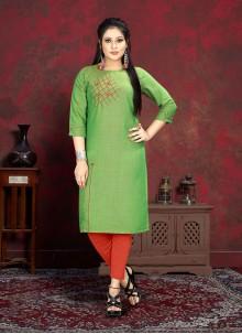 Green Rayon Handwork Party Wear Kurti