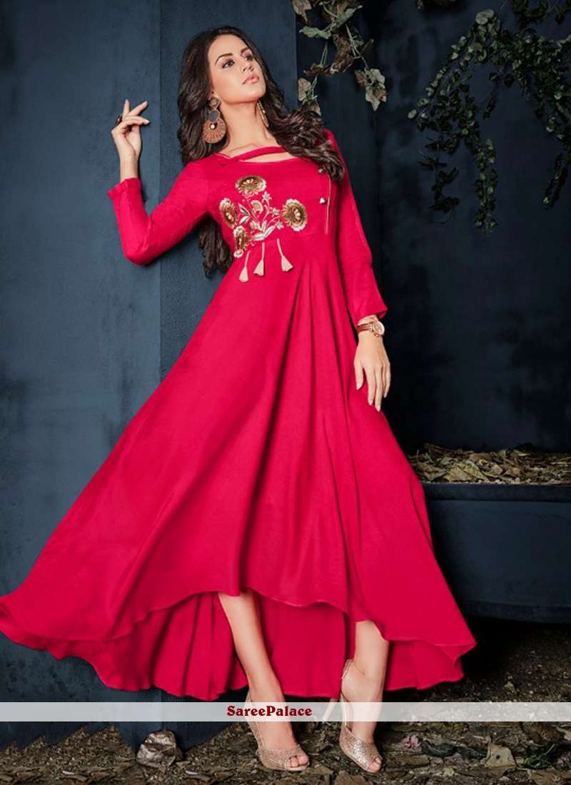 Rayon Hot Pink Embroidered Party Wear Kurti