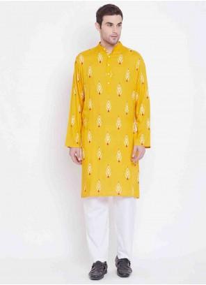 Rayon Kurta Pyjama in Yellow