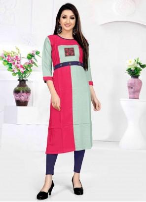 Rayon Multi Colour Embroidered Casual Kurti