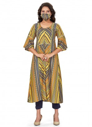 Rayon Multi Colour Print Party Wear Kurti