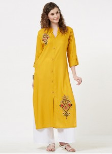 Rayon Mustard Embroidered Party Wear Kurti