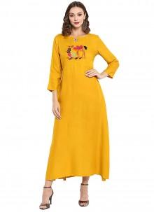 Rayon Mustard Plain Designer Kurti